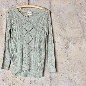 Pink rose sea green crochet sweater